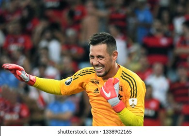 Rio de Janeiro, Brazil, March 13, 2019. Soccer goalkeeper Diego Alves of the team of Flamengo, during match against LDU by the Copa Libertadores of America in the stadium of the Maracanã.
