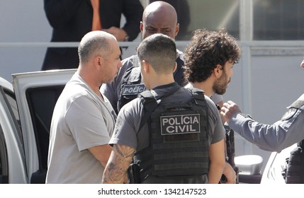 Rio de Janeiro, Brazil March 15, 2019  Elcio Queiroz (L, grey t-shirt) accused of driving the car used in the murder of human rights defender and politician Marielle Franco arrives at the jail.