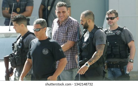 Rio de Janeiro, Brazil - March 15, 2019: Alexandre Souza (3rd, L), whom the police found 117 rifles at his house and involved in the murder of human rights defender and politician Marielle Franco.