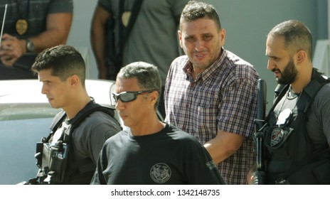 Rio de Janeiro, Brazil - March 15, 2019: Alexandre Souza (3rd, L), where the police found 117 rifles at his house and involved in the murder of human rights defender and politician Marielle Franco.