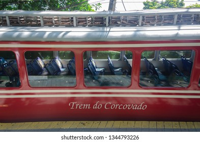 RIO DE JANEIRO, BRAZIL - MARCH 07, 2016: Corcovado Train transporting tourists daily to the statue Christ the Redeemer.