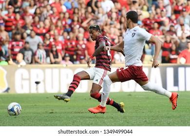 Rio de Janeiro, Brazil, March 24, 2019. Football player Bruno Henrique, during the Flamengo X Fluminense match for the Campeonato Carioca in the Maracanã stadium.