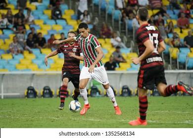 Rio de Janeiro, Brazil, March 27, 2019. Football players Paulo Henrique Ganso of the Fluminense team during the match Fluminense vs Flamengo by the Carioca Championship in the Maracanã stadium.