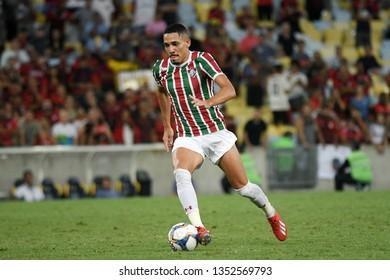 Rio de Janeiro, Brazil, March 27, 2019. Football player Gilberto from the Fluminense team during the Fluminense vs. Flamengo match for the Campeonato Carioca at the Maracanã stadium.