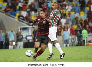 Rio de Janeiro, Brazil, March 27, 2019. Football player Vitinho of the Flamengo team, during the game Fluminense vs Flamengo by the Campeonato Carioca in the Maracanã stadium.