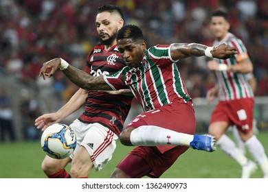 Rio de Janeiro, Brazil, March 6, 2019. Football player Yony Gonzalez of the Fluminense team during the Flamengo vs. Fluminense match for the Campeonato Carioca at the Maracanã Stadium