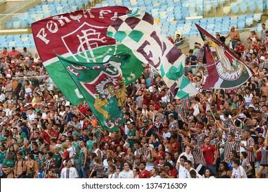 Rio de Janeiro, Brazil, March 9, 2019. Fluminense team soccer supporters during the Fluminense vs. Cabofriense game for the Campeonato Carioca at the Maracanã stadium.