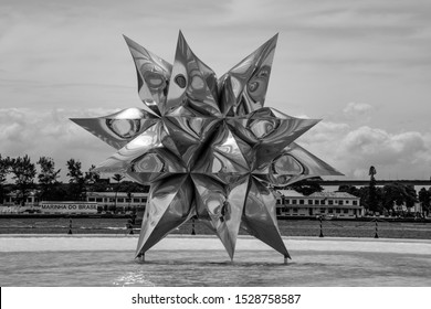 Rio de Janeiro, Brazil - March 24, 2016: The Puffed Star, sculpture of polished aluminium by Frank Stella at Museum of Tomorrow, in Rio de Janeiro