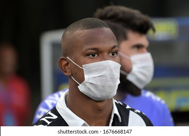 Rio de Janeiro, Brazil, March 15, 2020. Soccer players from Vasco's team enter a mask field against the prevention of the covid-19, during the Vasco x Fluminense game for the Campeonato Carioca in the