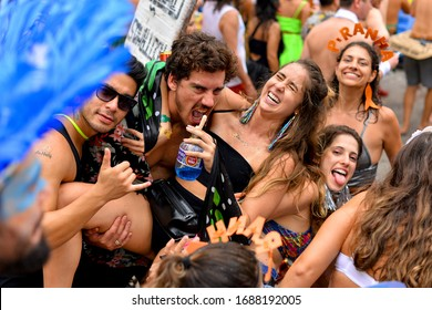 Rio de Janeiro, Brazil - March 3, 2019: Brazilians celebrate street block carnival in various costumes.