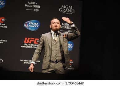 Rio de Janeiro- brazil March 10, 2018 UFC press conference with fighter Conor McGregor and Dana White