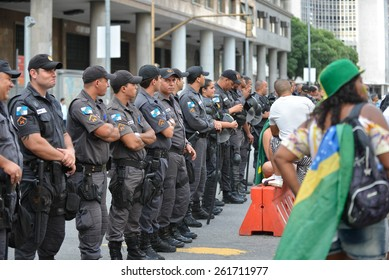 RIO DE JANEIRO, BRAZIL - March 15, 2015, Brazilians take the street of Rio de Janeiro to protest against federal government corruption. Protesters call for the impeachment of President Dilma Rousseff