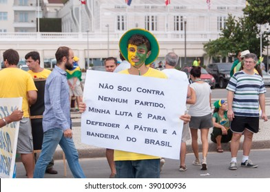 Rio de Janeiro, Brazil - March 13, 2016: Over one million demonstrators in the biggest protest ever against government and calling for President Dilma Rousseff removal.