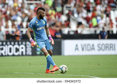 Rio de Janeiro, Brazil - march 05, 2017: Muralha gool keeper player in match between Fluminense and Flamengo by the Carioca championship in the Nilton Santos stadium (Engenhao)