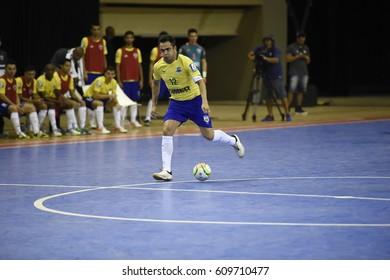 Rio de Janeiro- Brazil March 26, 2017 Futsal, farewell to the biggest futsal player in the world. Player Falcão says goodbye to the Brazilian national team.