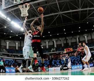 Rio de Janeiro - Brazil, May 7, 2018, basketball game of the national basketball league of Brazil NBB, between the teams of Flamengo and Mogi.