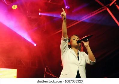 Rio de Janeiro, Brazil, May 1, 2013 Singer Bruna Karla, during her show at the Promessas Festival in Zé Garoto Square, in the city of São Gonçalo.