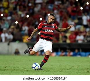 Rio de Janeiro- Brazil, May 10, 2018 soccer player Paolo Guerrero, during the match between Flamengo and Ponte Preta at the stadium of Maracanã