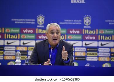 Rio de Janeiro, Brazil . May 14, 2018, press conference of the coach of the Brazilian soccer team Tite. summoning the players to the world cup of Russia