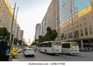 Rio de Janeiro, Brazil - may 22, 2018:  heavy traffic on Presidente Vargas Avenue in the city center on strike day