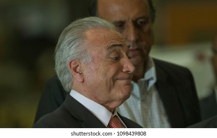 Rio de Janeiro, Brazil-  May, 24th, 2018-  Brazilian President Michel Temer delivers a speech during a ceremony .
