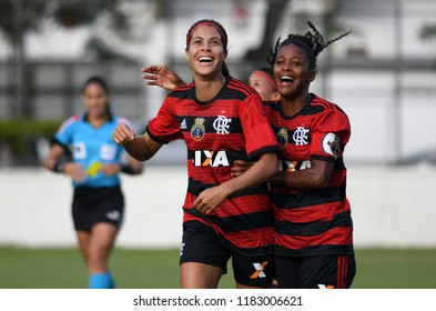 Rio de Janeiro, Brazil, May 9, 2018. Flamengo soccer player Dany Helena celebrates her goal during a match between Flamemgo and Rio Preto for the Brazilian women's championship at Gávea Stadium.