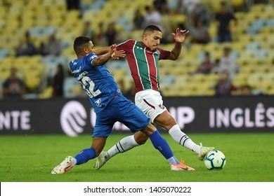 Rio de Janeiro, Brazil, May 15, 2019. Football player Gilberto from the Fluminense team during the game Fluminense vs. Cruzeiro for the Brazilian championship at the Maracanã stadium