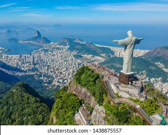 RIO DE JANEIRO , Brazil, May 20, 2019: Aerial view of Christ Redeemer and Corcovado Mountain