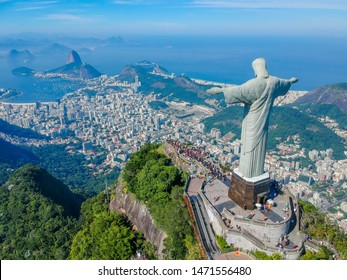 RIO DE JANEIRO , Brazil, May 20, 2019: Aerial view of Christ Redeemer and Corcovado Mountain