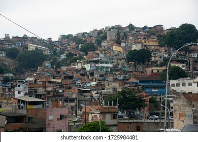 Rio de Janeiro, Brazil - may 06, 2020: view of the community of Mangueira, a very densely populated place, where covid-19 can be easily propagated. Social problem