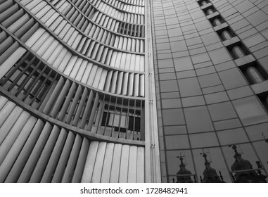 RIO DE JANEIRO, BRAZIL - MAY 11, 2020: Church reflected in modern building in Rio downtown