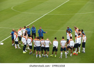 RIO DE JANEIRO, BRAZIL -  May 20, 2014: The Netherlands national soccer team training in preparation for the 2014 World Cup soccer tournament, which begins in June 12. No Use In Brazil.