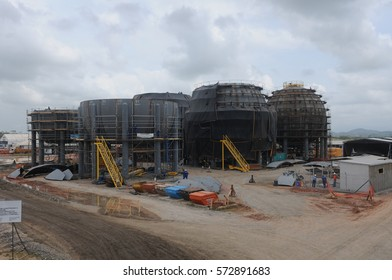 RIO DE JANEIRO, BRAZIL - MAY 10, 2013: Construction of the largest oil refinery PETROBRAS