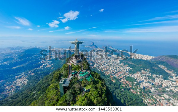 RIO DE JANEIRO , Brazil, May 20, 2019: Aerial view of Christ Redeemer and Corcovado Mountain. Rio de Janeiro is the cultural capital of Brazil and is a favorite destination for tourists. Panorama