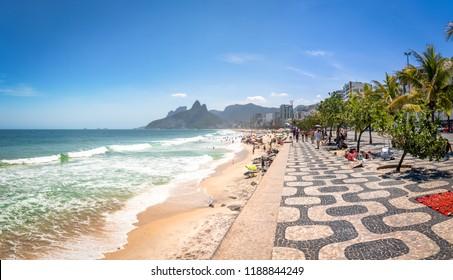 Rio de Janeiro, Brazil - Nov 2, 2017: Ipanema Beach and Two Brothers (Dois Irmaos) Mountain - Rio de Janeiro, Brazil
