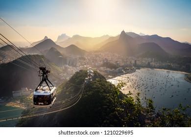 Rio de Janeiro, Brazil - Nov 2, 2017: Aerial view of Rio de Janeiro with Urca and Sugar Loaf Cable Car and Corcovado mountain  - Rio de Janeiro, Brazil