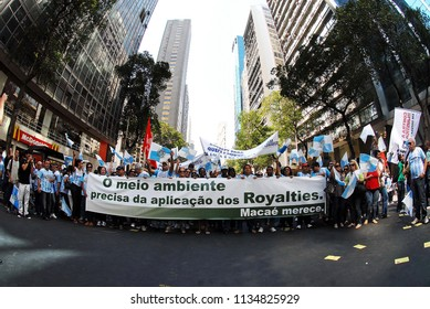 Rio de Janeiro, Brazil, November 10, 2011. Manifestation against the division of royalties imposed by the government in the center of the city of Rio de Janeiro.