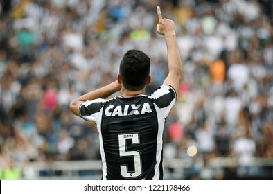 Rio de Janeiro, Brazil, November 4, 2018. Football player Rodrigo Lindoso of Botafogo, celebrates his goal during the game Botafogo vs. Corinthians for the Brazilian championship in Engenhão stadium.