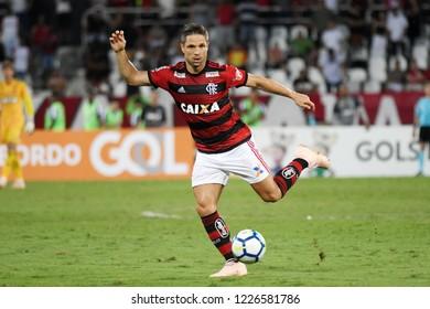 Rio de Janeiro, Brazil, November 10, 2018. Football player Diego Ribas of Flamengo, during the Botafogo vs. Flamengo match for the Brazilian championship at Engenhão Stadium