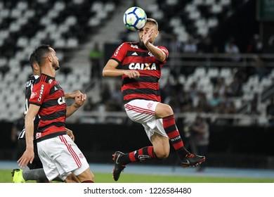 Rio de Janeiro, Brazil, November 10, 2018. Football player Léo Duarte do Flamengo, during the Botafogo vs. Flamengo match for the Brazilian championship at Engenhão Stadium