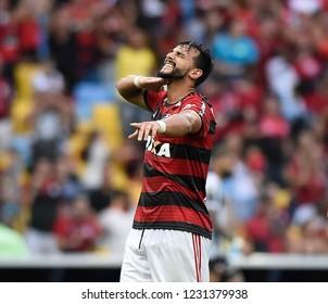 Rio de Janeiro- Brazil November 15, 2018, jodagor Henrique Dourado do Flamengo, celebrates his goal during the match between Flamengo and Santos at the Maracanã Stadium