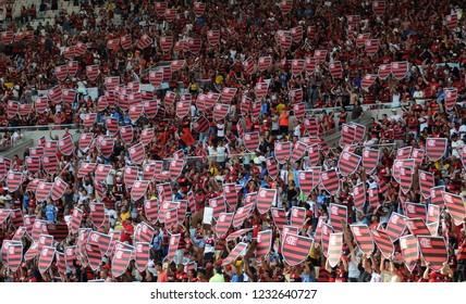 Rio de Janeiro, Brazil, November 15, 2018. Flamengo fans during the game Flamengo vs. Santos for the Brazilian championship in the Maracanã stadium