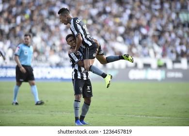 Rio de Janeiro -Brazil November 18, 2017, soccer match between Botafogo and Internacional  in the national soccer championship of Brazil in the stadium Nilton Santos