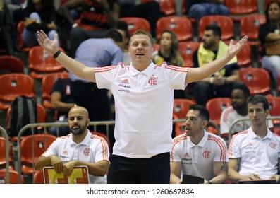 Rio de Janeiro, Brazil, November 23, 2018. Basketball Coach Gustavo De Conti of the Flamengo team during Flamengo vs Minas Tennis match for the South American Basketball League at Jeunesse Arena.