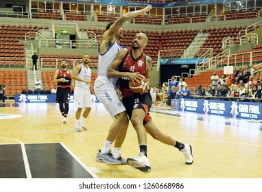 Rio de Janeiro, Brazil, November 23, 2018. Basketball player Marquinhos of the team of Flamengo during game Flamengo vs. Minas Tennis by the South American League of Basketball in Jeunesse Arena.