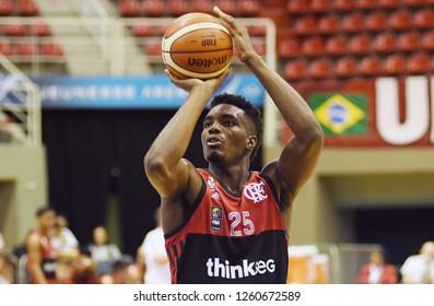 Rio de Janeiro, Brazil, November 23, 2018. Flamengo basketball player Nesbitt, during the game Flamengo vs. Minas Tennis by the South American Basketball League at the Jeunesse Arena.