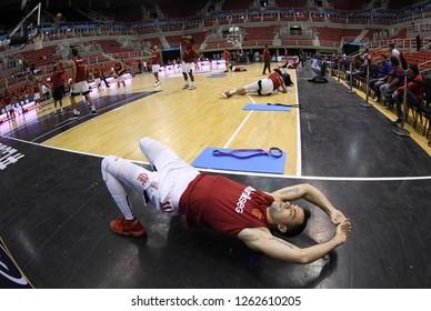 Rio de Janeiro, Brazil, November 22, 2018. Basketball player Deryk of the Flamengo team during warm-up before Flamengo's departure against Instituto de Córdoba by the South American Basketball League