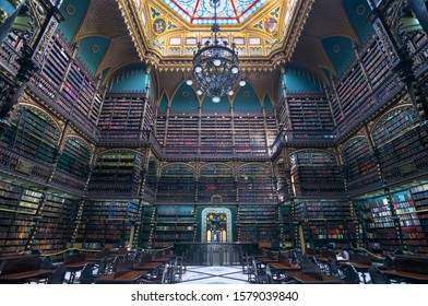 Rio de Janeiro, Brazil - november, 03, 2019 - Beautiful view of Royal Portuguese  Cabinet of Reading - one of de most beautiful library in the world