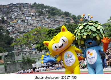 RIO DE JANEIRO, BRAZIL - November 24, 2014 - Mascots of the Olympic and Paralympic Games of Rio 2016 in their first public appearance at the Olympic Gymnasium Juan Antonio Samaranch, in Santa Teresa