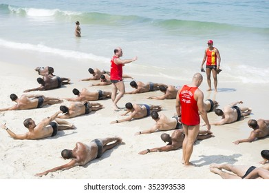 RIO DE JANEIRO, BRAZIL - NOVEMBER 10, 2015: Instructors lead a training course for the city's Guarda-Vidas (lifeguards) on Copacabana Beach.